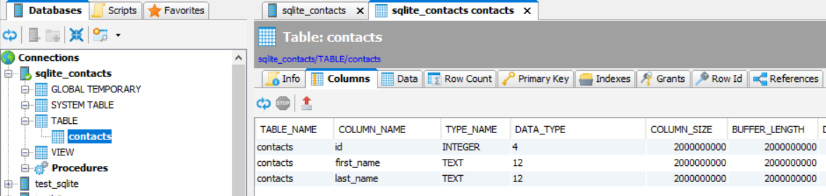Python Creating SQLite Database and Table